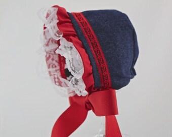 Baby bonnet, baby hat, baby gift, sun hat - Lauren Denim Baby Bonnet