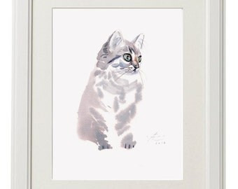 KITTEN painting, Giclee print, cute art gift for girls