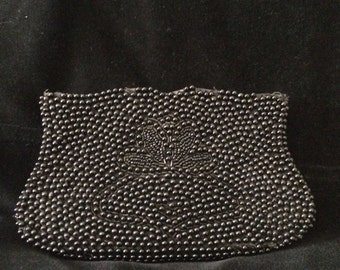 Vintage Small Black Beaded Clutch