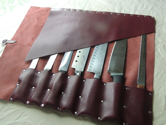 handmade leather knife roll chef roll chef bag tool roll. Black Bedroom Furniture Sets. Home Design Ideas