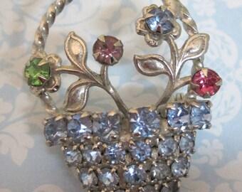 Vintage Silver Tone Flower Basket Brooch Pin w Colored Rhinestones Great Shape SHP