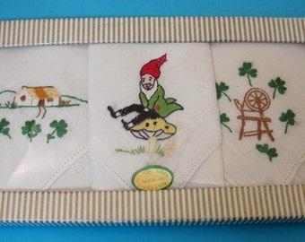 Boxed set 3 Irish Hankie's Leprechaun on Mushroom Cottage and Spinning Wheel T41