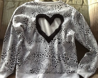 Size Medium  Heart Back Lion safari Sweatshirt Perfect for Valentine's Day!