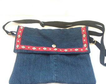 Denim purse, crossbody, indigo ruby red, boho, small, gift, american classic style, coats of arms, nautical recycled, reclaimed eco friendly