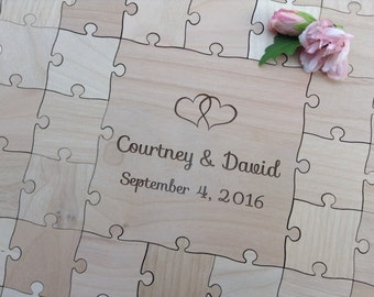 60 Large (2 inch) pieces CUSTOM  Wedding Guest Book Puzzle