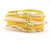 Yellow Cream Wrap Bracelet, Boho Wedding Jewelry, Yellow Leather Wrap Bracelets, Gypsy Hippie bracelet, suede, double wrap, boho chic