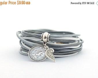 SALE Glacier Gray Boho Wrap Bracelet, Gray Silver White Wrap Bracelet, Wrap Around Bracelet, Minimalist Jewelry, gift for her