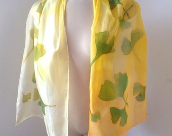 Golden ginkgo biloba silk scarf, Hand painted silk scarf, Floral silk scarf
