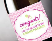 """Pregnancy Reveal """"Congrats You're Going To Be Grandparents"""" Birth Congrats Wine Label - Pink For Girl - Instant Download PDF"""