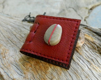 Miniature Book Necklace with Unique Fossil Red Recycled Leather Eco Friendly Stone Jewelry