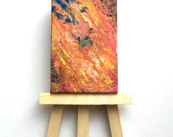 Original Handmade Art: Abstract Bright Multicolor Vertical Rectangular Mini Painting with Mini Easel in Orange, Blue, and Pink
