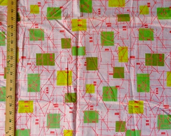 Atomic Punk Mid  century mcm dusty pink w squares and sticks 50's 60's cotton print
