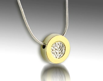 30% off Sterling Silver 18 karat gold bimetal necklace with reticulated center - ready to ship