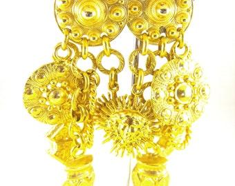 Edouard Rambaud Earrings Paris Designer Haute Couture Huge Size Huge Style Etruscan Revival Etrusceana Statement Jewelry