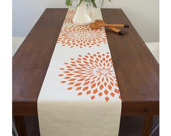 Graphic Zinnia Linen Table Runner- Vanilla /   Burnt Orange