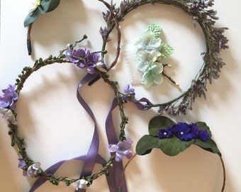 Flower Crown Grab Bag! Purple and Green - 3 flowercrowns, 1 headband, 1 comb for festivals photo shoots or weddings
