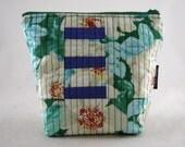 Quilted makeup bag - floral makeup bag - cosmetic bag - toiletry bag - knitting bag - project bag