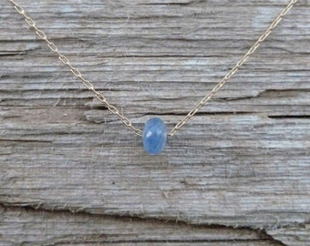 Sapphire Necklace, Solid 14k Gold Floating Blue Sapphire, September Birthday Gift, Birthstone
