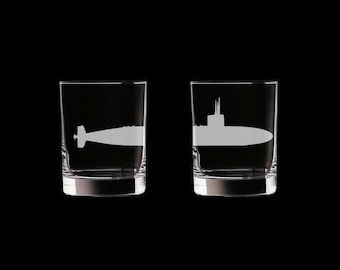 Submarine SSN Set of 2 Scotch Whiskey Glasses us navy usn los angeles class attack submarine