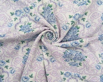 Vintage Lilac Floral Fabric, French Vintage Fabric, Antique Cotton Fabric Lilac Blue Green White Flowers, Purple Blue Floral Fabric Remnant