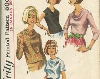 1960s Simplicity 6239 Misses Size 18, Bust 38, Cowl Neck Blouse Pattern