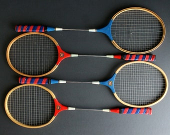 Vintage Badminton Racket Set Of 4 Four Wood Head Metal Shaft Red White and Blue Game Room Decor