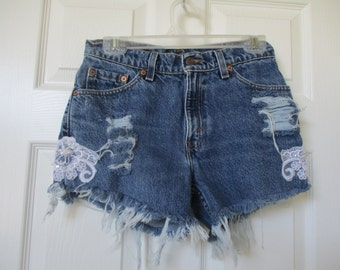 "Vtg Levis cut off denim shorts size W 28 white lace added made in U.S womens grunge 28"" waist"