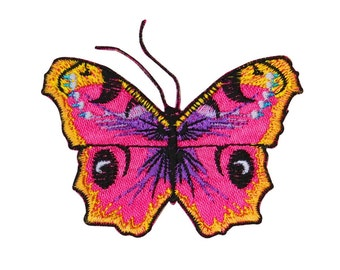 Pretty Butterfly Detailed Pink & Yellow Patch Garden Bug Craft Iron-On Applique