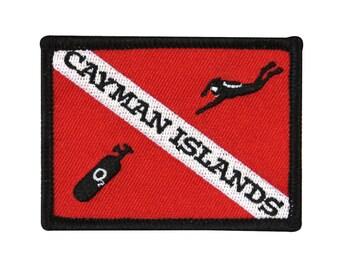 """Scuba Souvenir """"Cayman Islands"""" Dive Patch Caribbean Vacation Iron-On Applique"""
