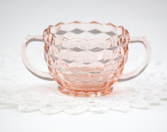 Pink Jeanette Glass Sugar Bowl - Cube Cubist Depression Glass
