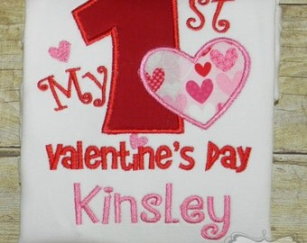 First Valentine's Day Personalized Embroidered Shirt or Bodysuit