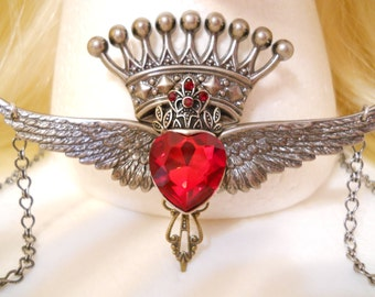 Heart Crown Wings Necklace Silver Ruby Red Heart Valentines Day Gift Harley Davidson Queen of Hearts Sacred Heart Red Queen Heart King