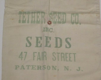 Vintage Tether Seed Co. Seeds Paterson NJ Muslin Seed Bag