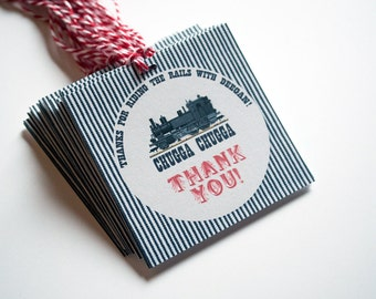 TRAIN Gift Tag, Train Birthday Party Decor, Train Baby Shower, Train Thank You, Railroad Retirement, Chugga Choo Thank You,Personalized Tags