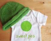 SWEET PEA Hat and Onesie / Bodysuit Gift Set - Baby Girl or Boy, Short Sleeve, Two Piece  - Available in NB, 3, 6, 9, 12, 18 and 24 months