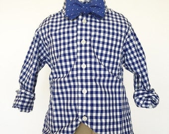 Blue Dot Chambray Bow Tie