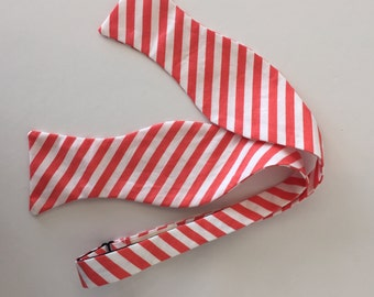 Men and Teen's Coral Stripe Bow Tie