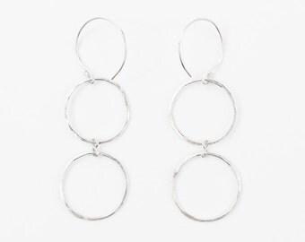 Sterling silver hoop earrings, Silver hoop earrings, Double Hoop earrings, Dangle earrings, Silver earrings hoops, Gift for her