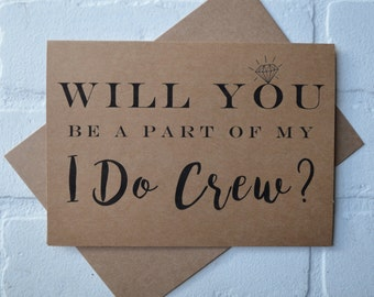 I DO CREW will you be my bridesmaid card bridal cards bridesmaid cards kraft wedding be my bridesmaid card funny bridal crew cards wedding