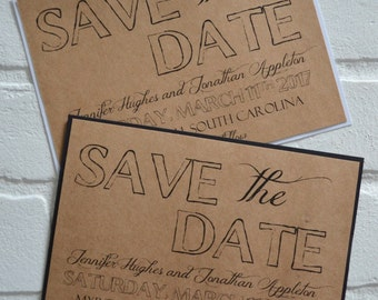 Save the Date Cards kraft rustic save-the-date cards black kraft white kraft save the dates outside country chic cards classy elegant card