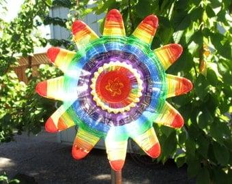 Garden Decor - Glass Flower Garden Art, plate flower, hand painted Red, Oange, Yellow, Green, Blue, Purple, Violet garden art