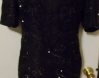 Vintage Black Dress Sequins & Beads