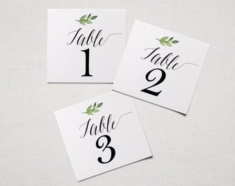 Table Numbers 1-16 with Simple Botanical for Weddings, Parties, and more