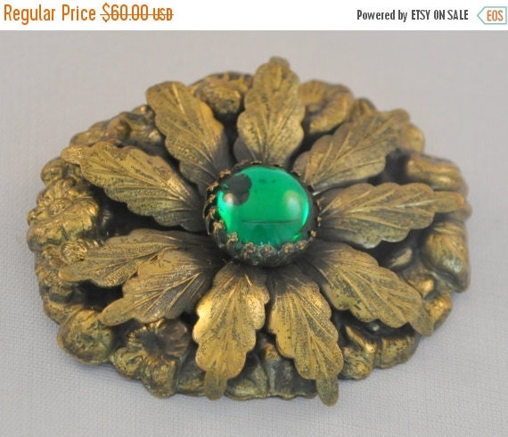 ON SALE Antique Victorian Brooch with Czech Glass Cabochon - Huge