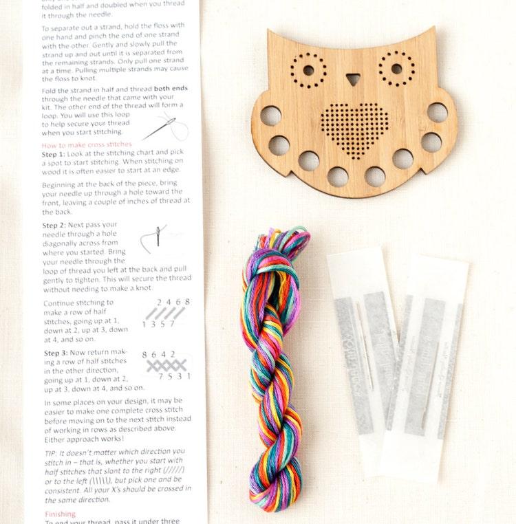Owl thread keep diy kit embroidery floss by redgatestitchery