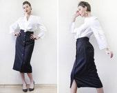Vintage simple black pencil high waist button up ankle length midi skirt S