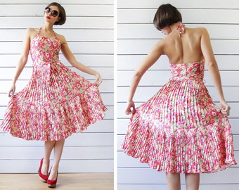 Vintage pink yellow floral print backless halter neck full knee length accordion pleated skirt party midi dress XS S