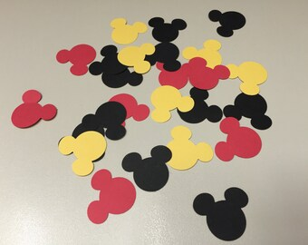 125 mickey mouse head paper punches in black, red and yellow, baby shower, disney party, birthday party