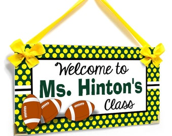 personalized teacher name classroom door sign - sports football theme green and yellow wall plaque - P2404
