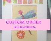 Custom Order  - Dragonfly Wall Art, Spring Nursery Decor personalized
